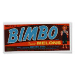 Vintage Old Bimbo Melons Fruit Crate Labels Poster