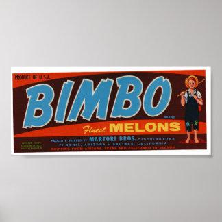 Vintage Old Bimbo Melons Fruit Crate Labels Print