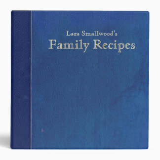 Vintage Old Blue Book Personalized Recipe 3 Ring Binder