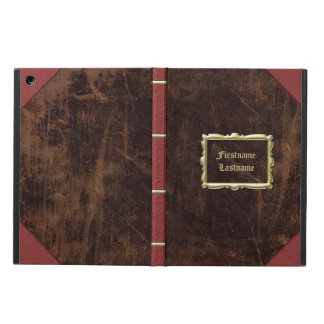 Vintage Old Book Leather-Look Personalized iPad Air Covers