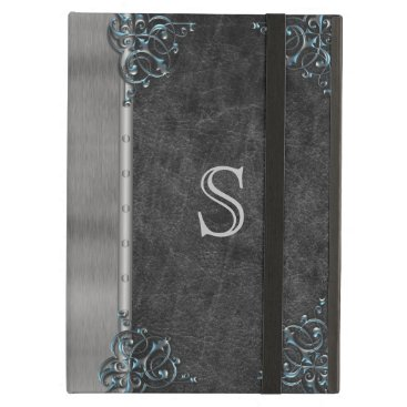 Vintage Old Book Leather Metal Silver Monogram Case For iPad Air