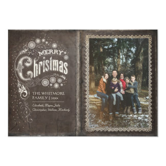 Vintage Old Book Merry Christmas Photo Card