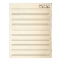 Vintage Old Book Page Blank Sheet Music 10 Stave