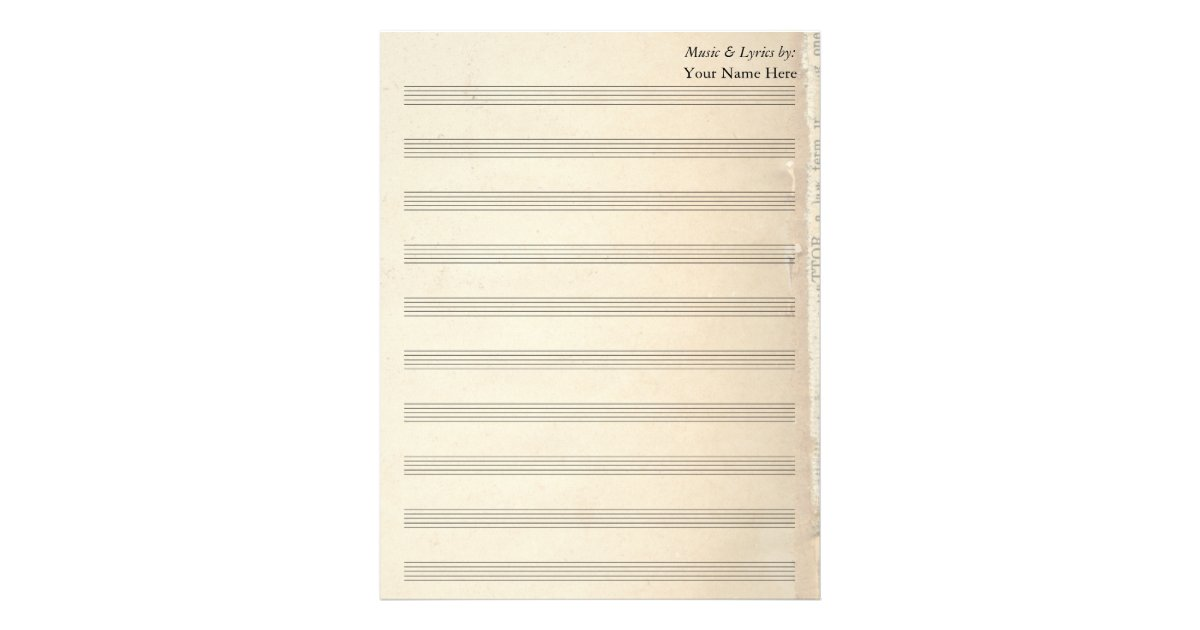Vintage Old Book Page Blank Sheet Music 10 Stave | Zazzle.com