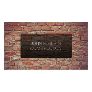 Vintage old brick wall construction business card