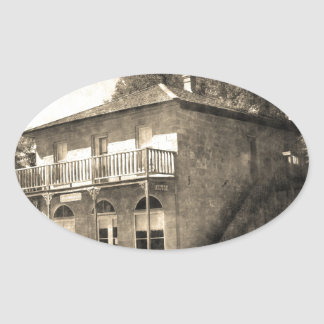 Vintage Old Building of Stone Oval Sticker