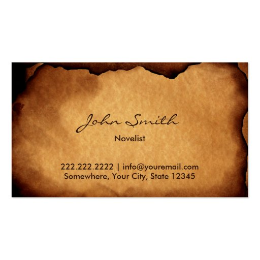 Vintage Old Burned Paper Novelist Business Card Templates