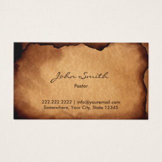 Vintage Old Burned Paper Pastor Business Card
