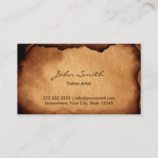 vintage old burned paper tattoo art business card - Tattoo Artist Business Cards