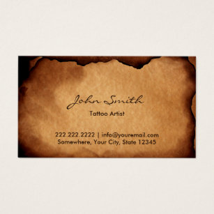 Tattoo business cards templates zazzle vintage old burned paper tattoo art business card fbccfo Gallery
