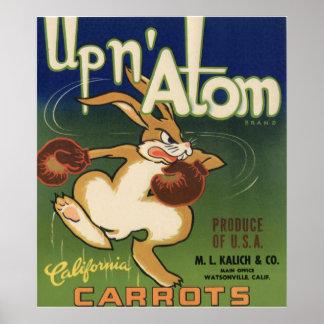 Vintage Old Carrots Vegetables Crate Labels Ad Poster