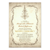 vintage old chandelier chic wedding invitations