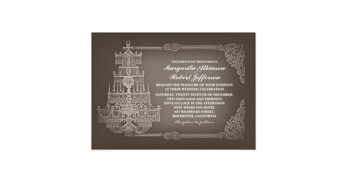 Chandelier Wedding Invitations: Vintage Old Chandelier Wedding Invitations
