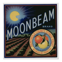 Vintage Old Citrus Moonbeam Fruit Crate Labels Poster