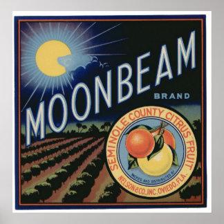 Vintage Old Citrus Moonbeam Fruit Crate Labels Poster