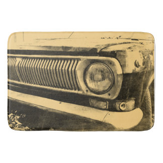 Vintage Old Classic Car Headlights Bathroom Mat