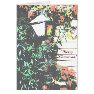 Vintage Old Coach Style Porch Lamp Merry Christmas Card