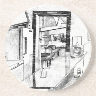 Vintage Old Country Diner Americana Drawing Coaster