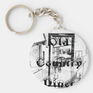 Vintage Old Country Diner Americana Drawing Key Chains