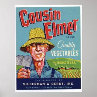 Vintage Old Cousin Elmer Vegetables Crate Labels Print