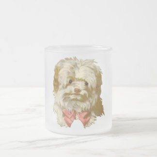 Vintage Old English Sheepdog pet puppy cute Frosted Glass Coffee Mug