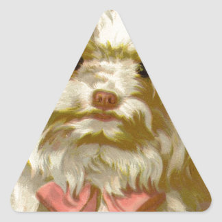 Vintage Old English Sheepdog pet puppy cute Triangle Sticker