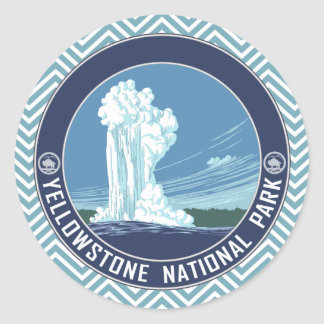 Vintage Old Faithful Travel Poster Artwork Classic Round Sticker