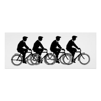 Vintage Old Fashion Bicycles Cyclists Ride Poster