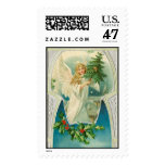 Vintage old fashioned Angel with Christmas tree Postage