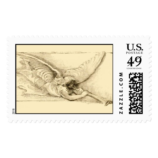 Vintage old fashioned  Angel with horn Postage