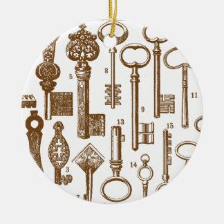 Vintage Old Fashioned Antique Key Set Ceramic Ornament