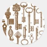Vintage Old Fashioned Antique Key Set Classic Round Sticker