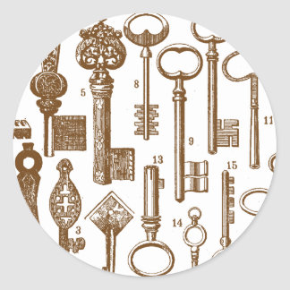 Vintage Old Fashioned Antique Key Set Classic Round Sticker