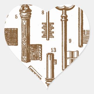 Vintage Old Fashioned Antique Key Set Heart Sticker