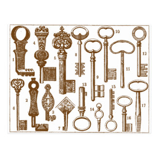Vintage Old Fashioned Antique Key Set Postcard