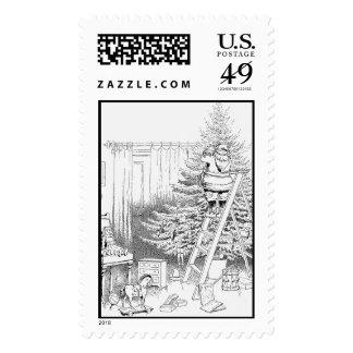 Vintage old fashioned  black and white Santa Postage Stamp