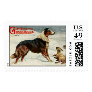 Vintage old fashioned  collie and lamp stamps