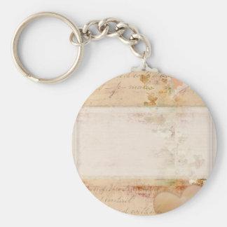 Vintage, old fashioned design basic round button keychain