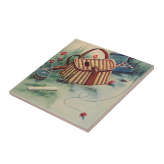 Vintage Old Fashioned Fly Fishing Sport Still Life Tiles