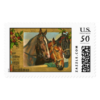 Vintage old fashioned horse lovers Christmas Postage