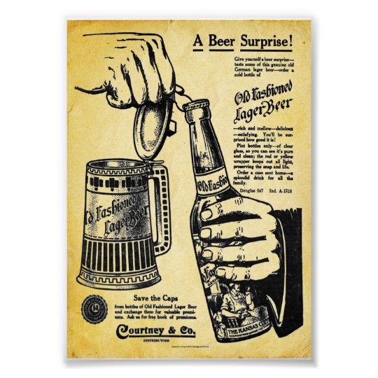 Vintage Old fashioned Lager Beer Print