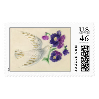 Vintage old fashioned peaceful Christmas Dove Stamp