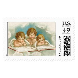 Vintage old fashioned praying angels postage stamp