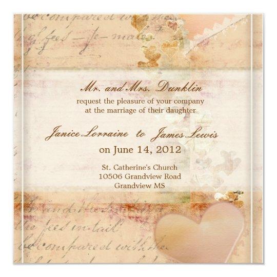 Vintage Old Fashioned Wedding Invitation