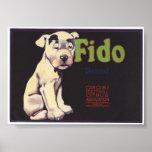 Vintage Old Fido Fruit Crate Labels Poster