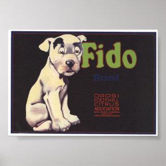 Vintage Old Fido Fruit Crate Labels Print