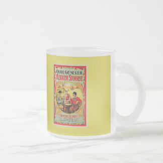 Vintage Old Flemish Genever (Jenever, Gin) ad 10 Oz Frosted Glass Coffee Mug