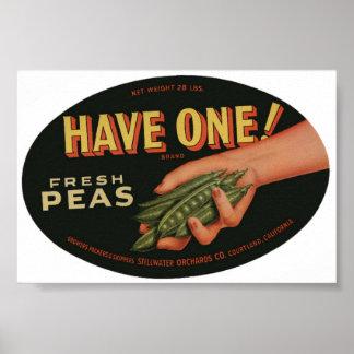 Vintage Old Fresh Peas Crate Labels Poster
