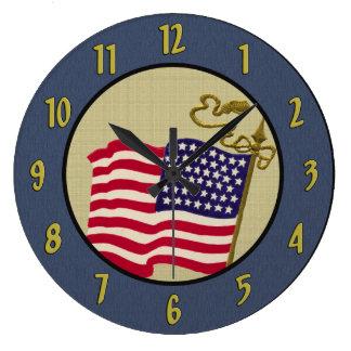 Vintage Old Glory Flag Wall Clock