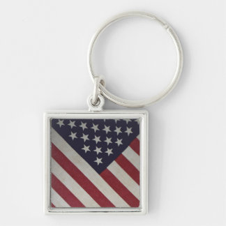 Vintage Old Glory Silver-Colored Square Keychain